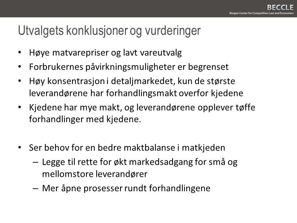 Utvalgets forslag Lov om forhandlinger og god handelsskikk – En rekke forslag til konkrete reguleringer Dagligvareombud Dagligvareportal Matmerking Endring i fusjonskontrollen Utredning om eierskapsbegrensning i dagligvarehandelen