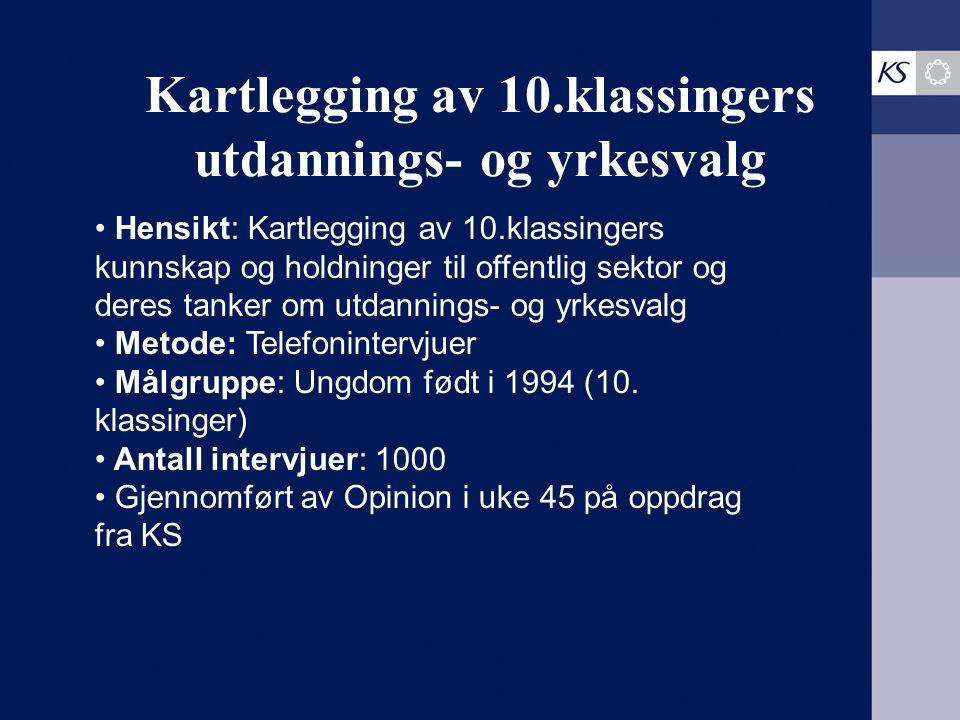 Kartlegging av 10.klassingers utdannings- og yrkesvalg Hensikt: Kartlegging av 10.klassingers kunnskap og holdninger til offentlig sektor og deres tan