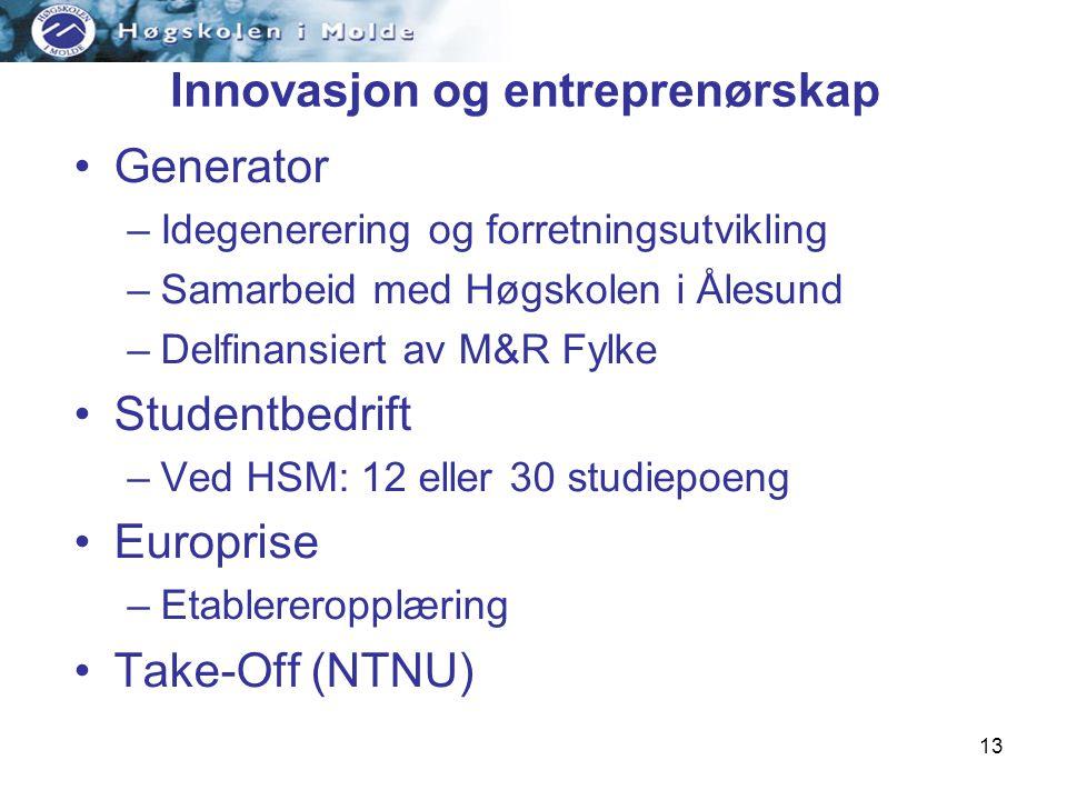 13 Innovasjon og entreprenørskap Generator –Idegenerering og forretningsutvikling –Samarbeid med Høgskolen i Ålesund –Delfinansiert av M&R Fylke Studentbedrift –Ved HSM: 12 eller 30 studiepoeng Europrise –Etablereropplæring Take-Off (NTNU)