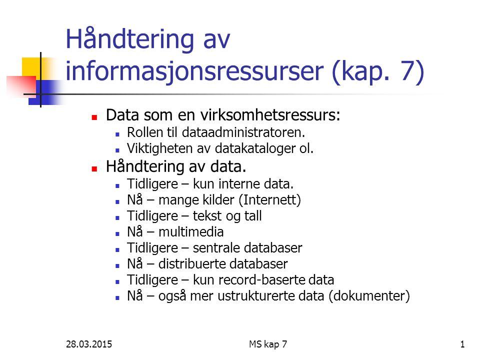 28.03.2015MS kap 71 Håndtering av informasjonsressurser (kap. 7) Data som en virksomhetsressurs: Rollen til dataadministratoren. Viktigheten av dataka