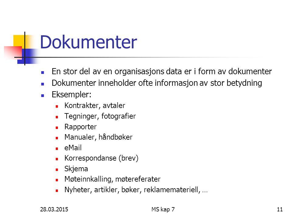 28.03.2015MS kap 711 Dokumenter En stor del av en organisasjons data er i form av dokumenter Dokumenter inneholder ofte informasjon av stor betydning