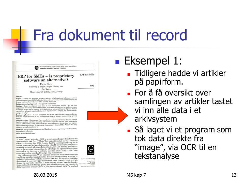 28.03.2015MS kap 713 Fra dokument til record Eksempel 1: Tidligere hadde vi artikler på papirform. For å få oversikt over samlingen av artikler tastet