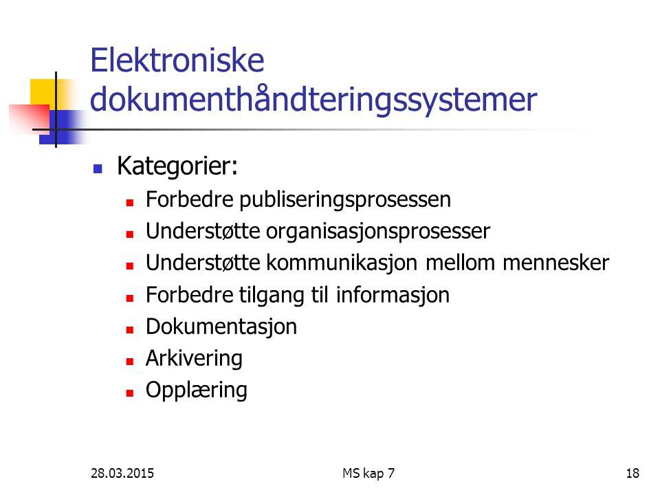 28.03.2015MS kap 718 Elektroniske dokumenthåndteringssystemer Kategorier: Forbedre publiseringsprosessen Understøtte organisasjonsprosesser Understøtt