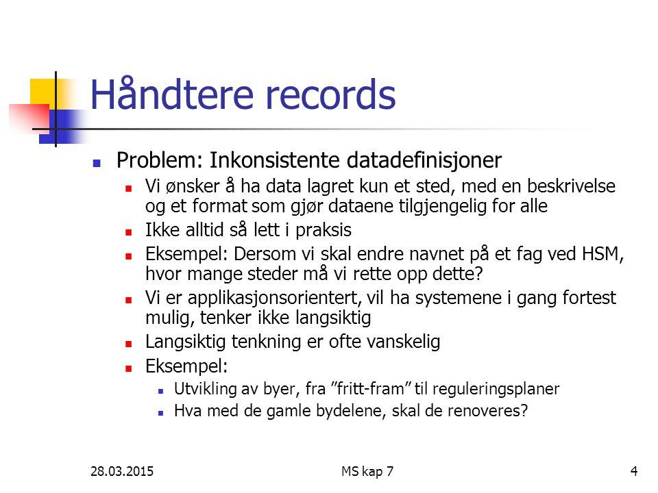 28.03.2015MS kap 74 Håndtere records Problem: Inkonsistente datadefinisjoner Vi ønsker å ha data lagret kun et sted, med en beskrivelse og et format s