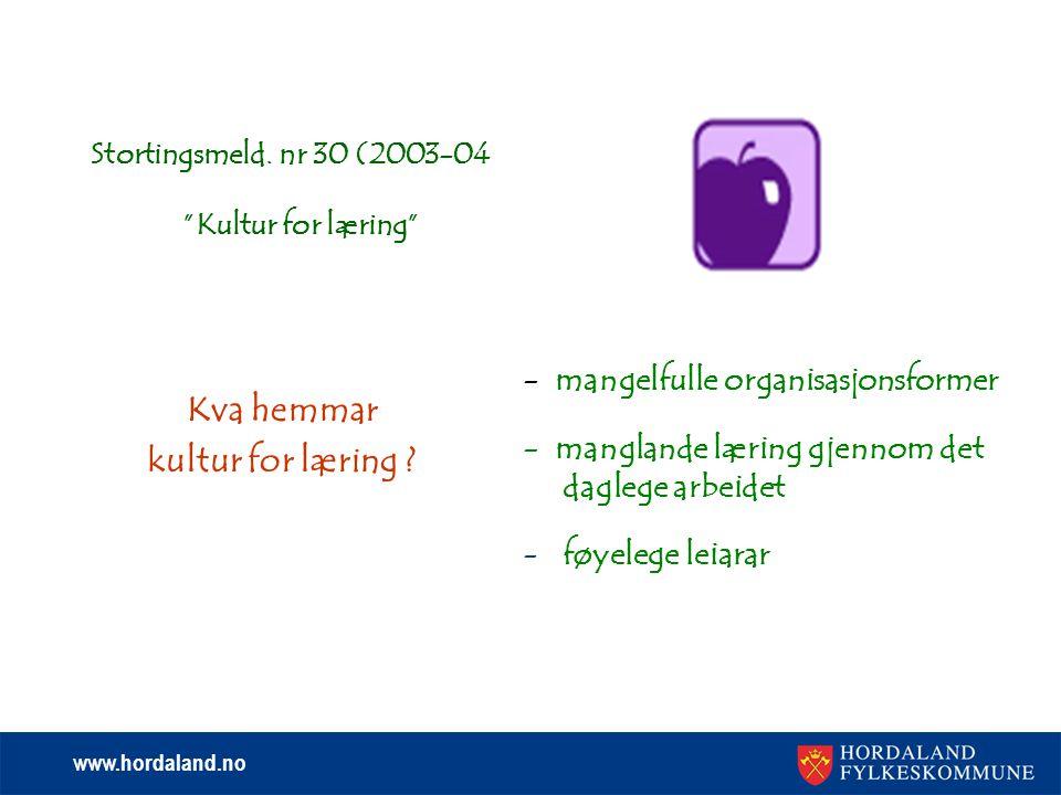 www.hordaland.no Stortingsmeld. nr 30 (2003-04 Kultur for læring Kva hemmar kultur for læring .