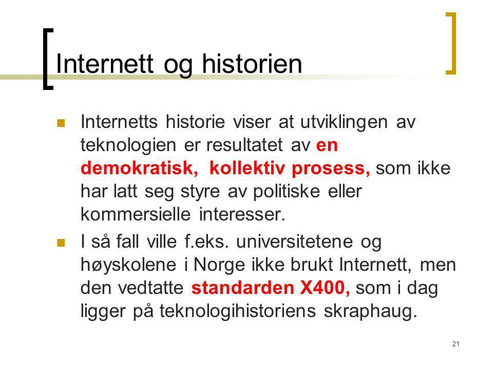 21 Internett og historien Internetts historie viser at utviklingen av teknologien er resultatet av en demokratisk, kollektiv prosess, som ikke har lat
