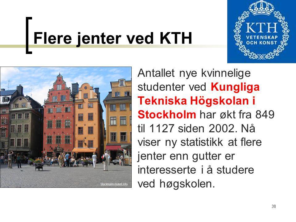 38 Flere jenter ved KTH Antallet nye kvinnelige studenter ved Kungliga Tekniska Högskolan i Stockholm har økt fra 849 til 1127 siden 2002. Nå viser ny