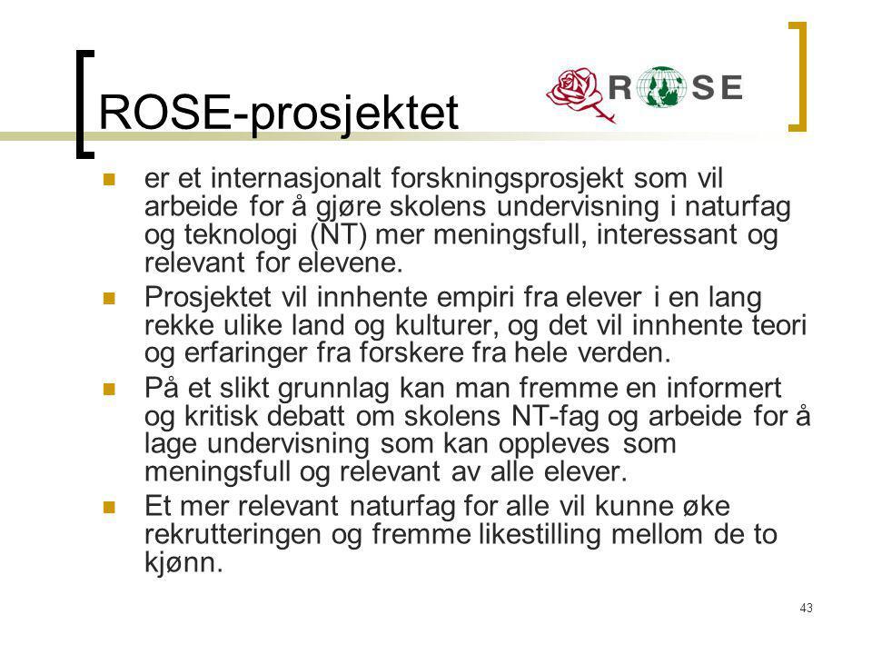 43 ROSE-prosjektet er et internasjonalt forskningsprosjekt som vil arbeide for å gjøre skolens undervisning i naturfag og teknologi (NT) mer meningsfu
