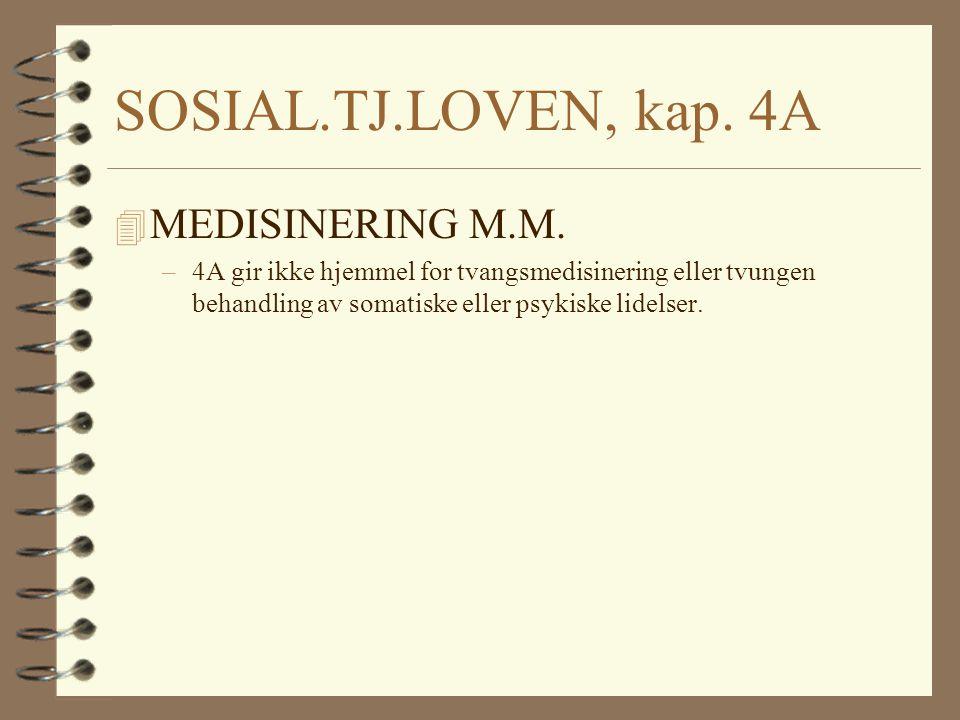 SOSIAL.TJ.LOVEN, kap. 4A 4 MEDISINERING M.M. –4A gir ikke hjemmel for tvangsmedisinering eller tvungen behandling av somatiske eller psykiske lidelser