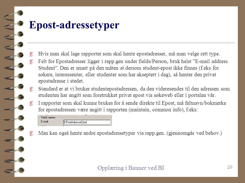 Post-adressetyper 4 Når man skal hente adresser med Rapp.gen, må det angis hvilke typer adresser som foretrekkes. 4 Standard er ST, PA, BU 4 Disse vel