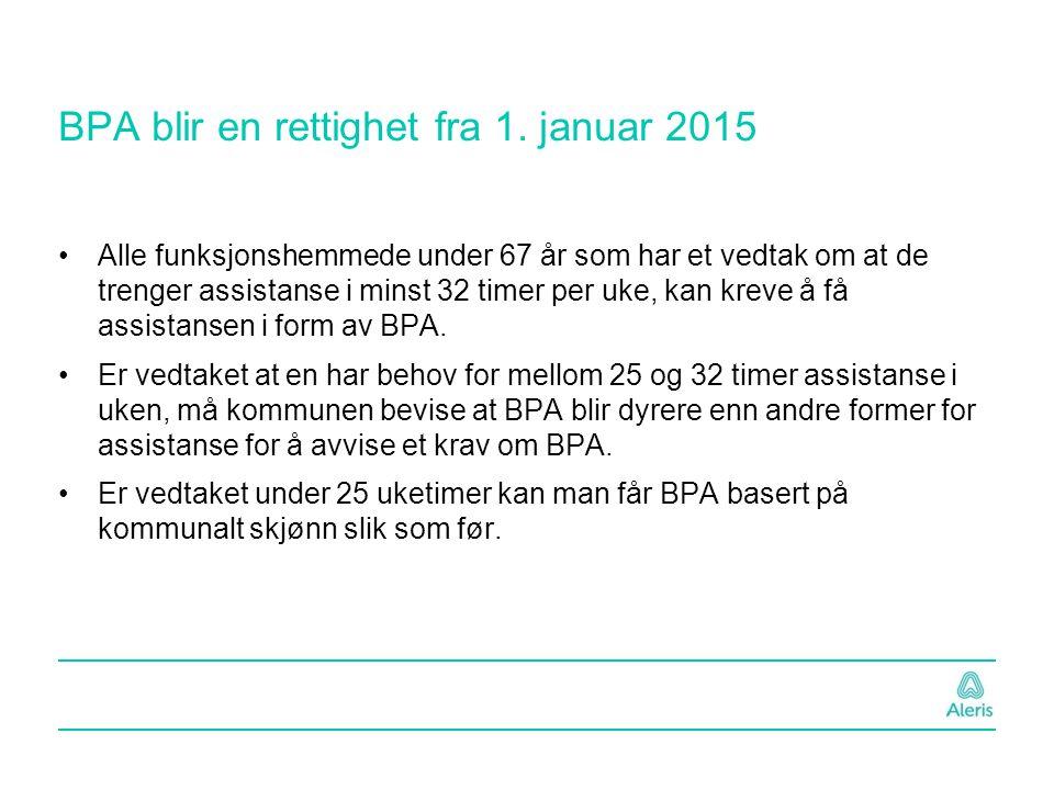 BPA blir en rettighet fra 1. januar 2015 Alle funksjonshemmede under 67 år som har et vedtak om at de trenger assistanse i minst 32 timer per uke, kan