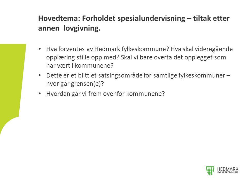 Hva forventes av Hedmark fylkeskommune? Hva skal videregående opplæring stille opp med? Skal vi bare overta det opplegget som har vært i kommunene? De