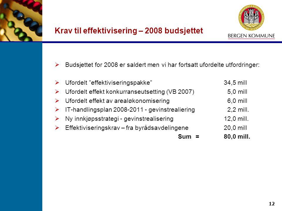 """12 Krav til effektivisering – 2008 budsjettet  Budsjettet for 2008 er saldert men vi har fortsatt ufordelte utfordringer:  Ufordelt """"effektivisering"""