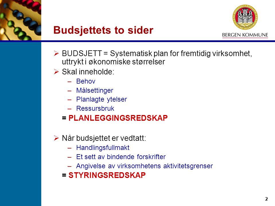 2 Budsjettets to sider  BUDSJETT = Systematisk plan for fremtidig virksomhet, uttrykt i økonomiske størrelser  Skal inneholde: –Behov –Målsettinger