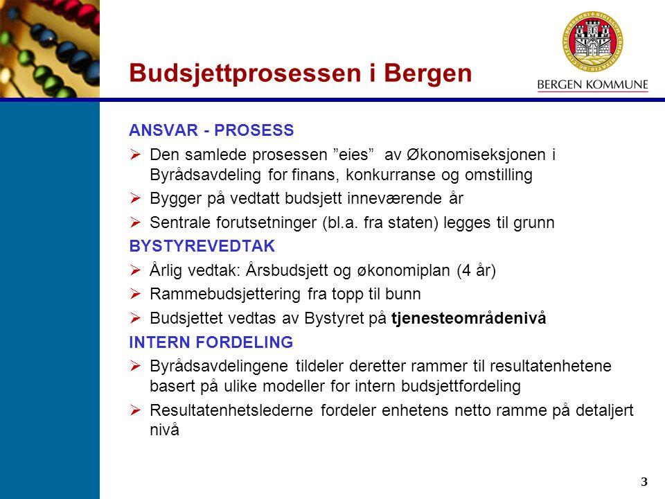 """3 Budsjettprosessen i Bergen ANSVAR - PROSESS  Den samlede prosessen """"eies"""" av Økonomiseksjonen i Byrådsavdeling for finans, konkurranse og omstillin"""