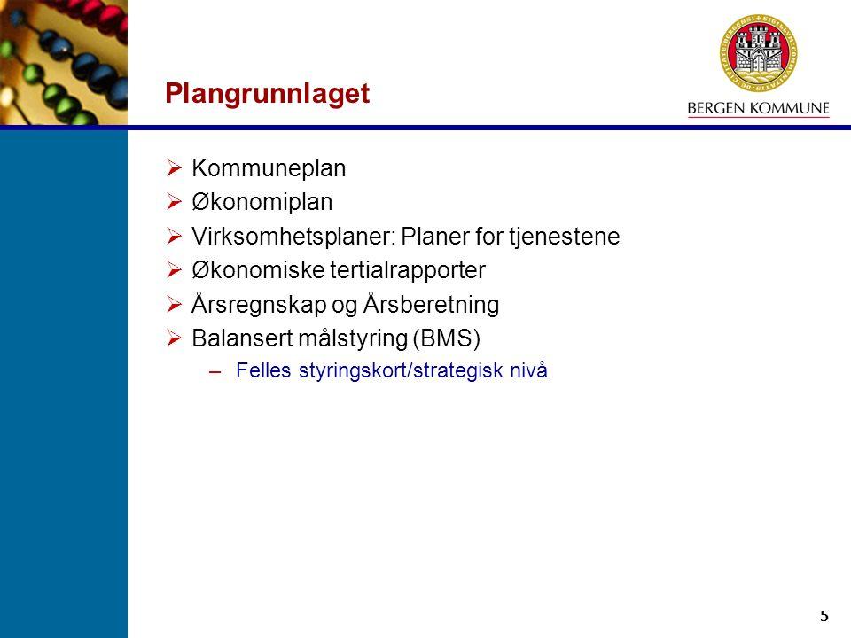 5 Plangrunnlaget  Kommuneplan  Økonomiplan  Virksomhetsplaner: Planer for tjenestene  Økonomiske tertialrapporter  Årsregnskap og Årsberetning 