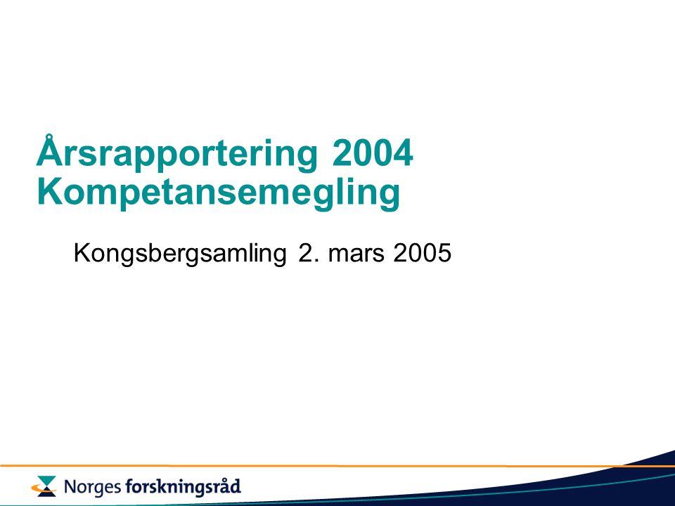 Årsrapportering 2004 Kompetansemegling Kongsbergsamling 2. mars 2005