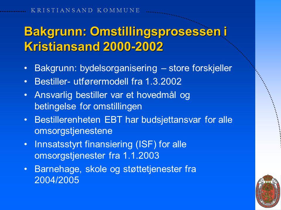 K R I S T I A N S A N D K O M M U N E Bakgrunn: Omstillingsprosessen i Kristiansand 2000-2002 Bakgrunn: bydelsorganisering – store forskjeller Bestiller- utførermodell fra 1.3.2002 Ansvarlig bestiller var et hovedmål og betingelse for omstillingen Bestillerenheten EBT har budsjettansvar for alle omsorgstjenestene Innsatsstyrt finansiering (ISF) for alle omsorgstjenester fra 1.1.2003 Barnehage, skole og støttetjenester fra 2004/2005