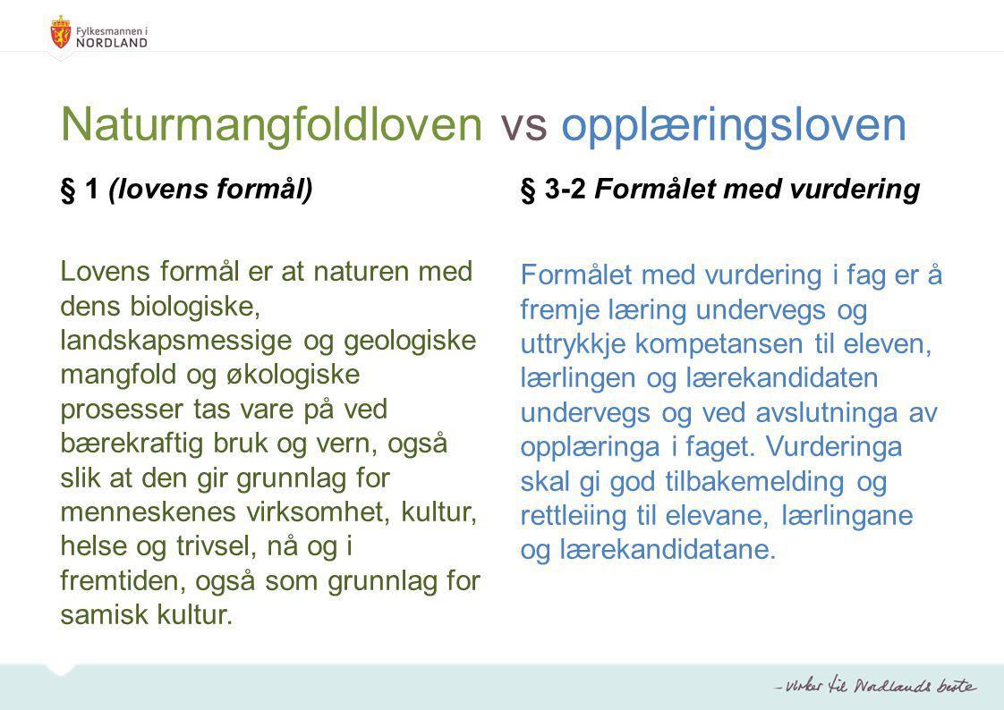 Naturmangfoldloven vs opplæringsloven § 1 (lovens formål) Lovens formål er at naturen med dens biologiske, landskapsmessige og geologiske mangfold og