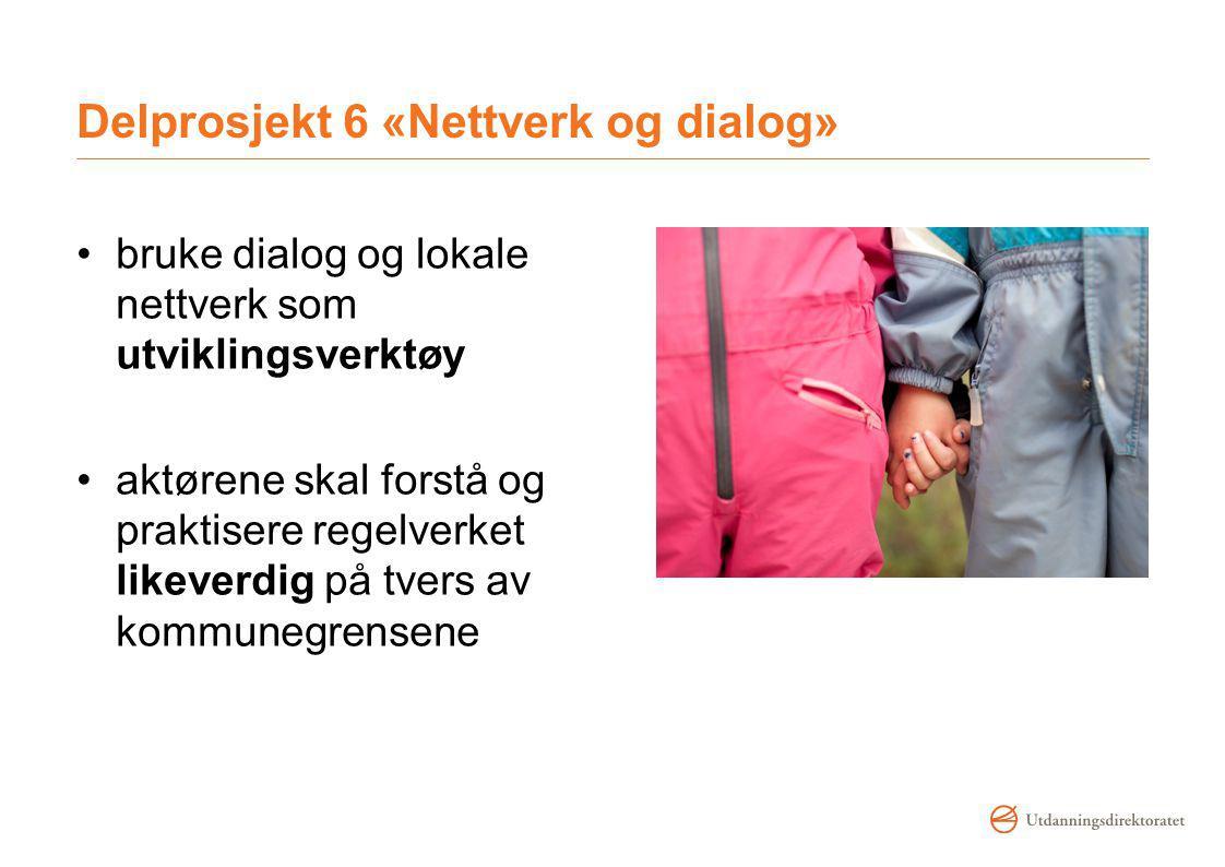 Delprosjekt 6 «Nettverk og dialog» bruke dialog og lokale nettverk som utviklingsverktøy aktørene skal forstå og praktisere regelverket likeverdig på