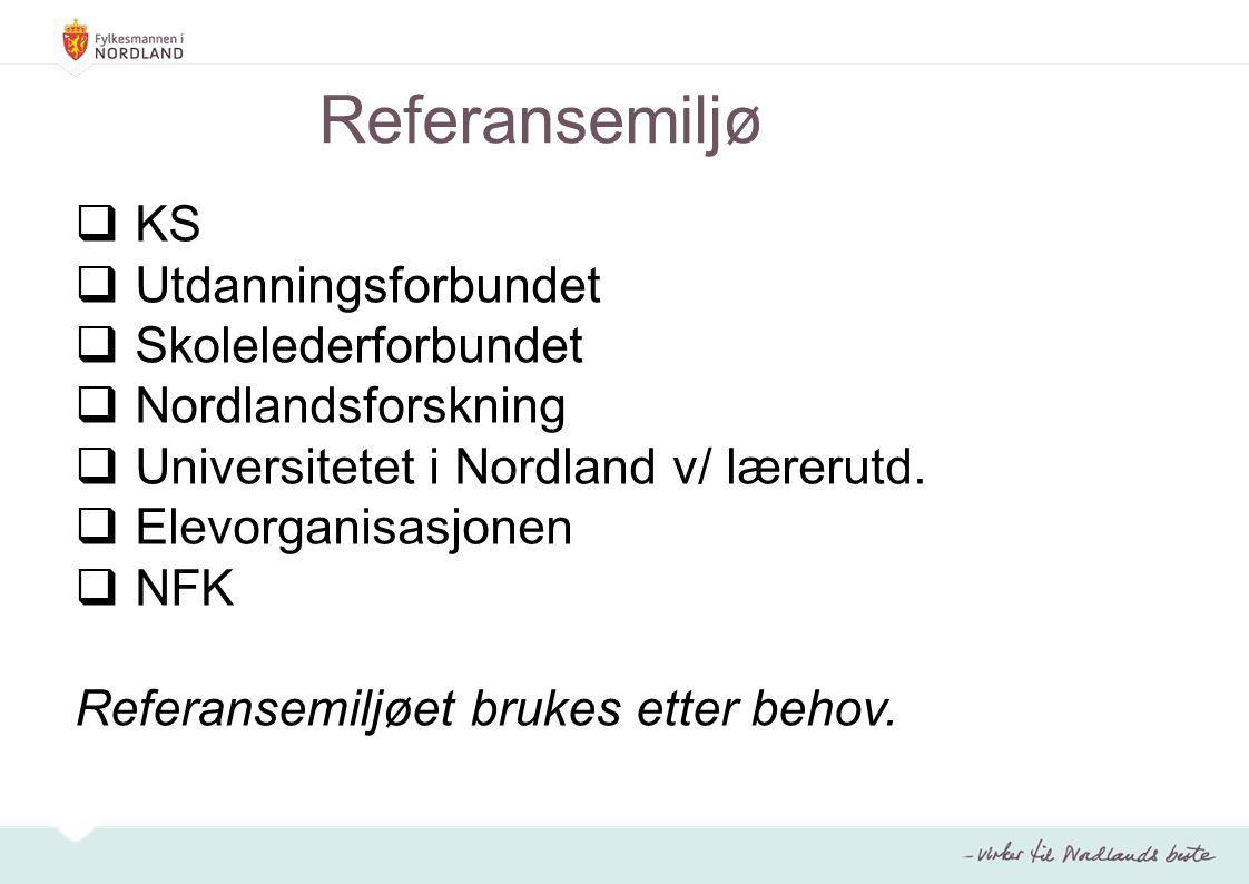 Referansemiljø  KS  Utdanningsforbundet  Skolelederforbundet  Nordlandsforskning  Universitetet i Nordland v/ lærerutd.  Elevorganisasjonen  NF