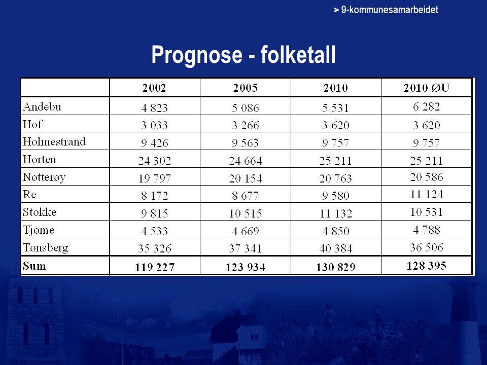 > 9-kommunesamarbeidet Prognose - folketall