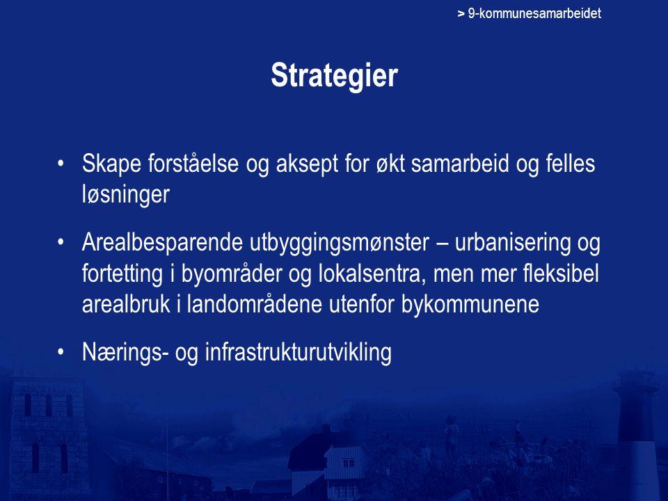 > 9-kommunesamarbeidet Strategier Skape forståelse og aksept for økt samarbeid og felles løsninger Arealbesparende utbyggingsmønster – urbanisering og