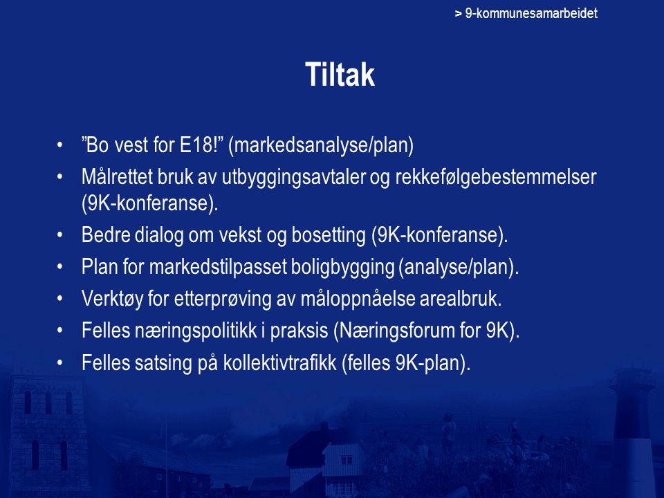 > 9-kommunesamarbeidet Tiltak Bo vest for E18! (markedsanalyse/plan) Målrettet bruk av utbyggingsavtaler og rekkefølgebestemmelser (9K-konferanse).