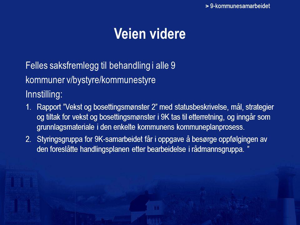 """> 9-kommunesamarbeidet Veien videre Felles saksfremlegg til behandling i alle 9 kommuner v/bystyre/kommunestyre Innstilling: 1.Rapport """"Vekst og boset"""