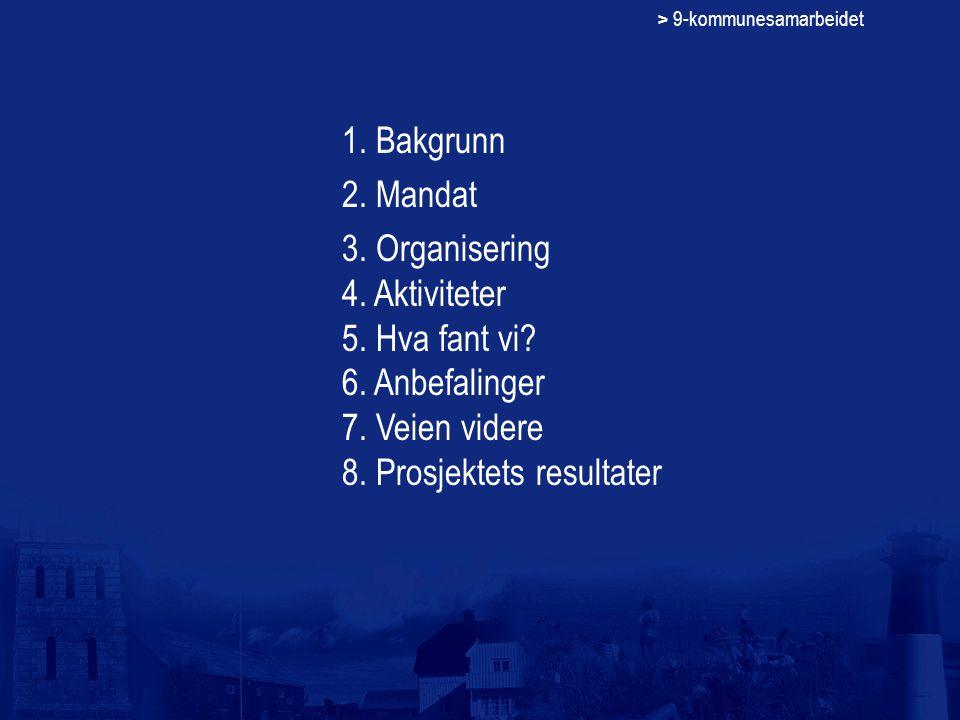 > 9-kommunesamarbeidet 1. Bakgrunn 2. Mandat 3. Organisering 4. Aktiviteter 5. Hva fant vi? 6. Anbefalinger 7. Veien videre 8. Prosjektets resultater