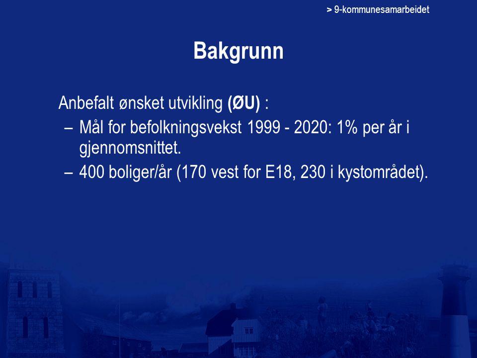 > 9-kommunesamarbeidet Bakgrunn Anbefalt ønsket utvikling (ØU) : –Mål for befolkningsvekst 1999 - 2020: 1% per år i gjennomsnittet. –400 boliger/år (1