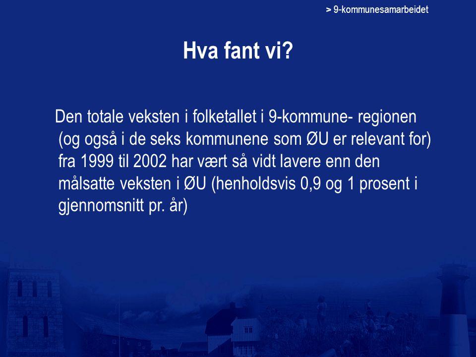 > 9-kommunesamarbeidet Hva fant vi? Den totale veksten i folketallet i 9-kommune- regionen (og også i de seks kommunene som ØU er relevant for) fra 19