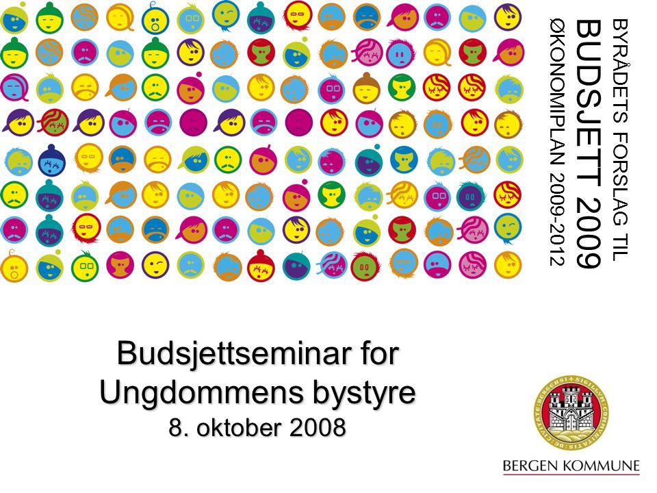 1 BYRÅDETS FORSLAG TIL BUDSJETT 2009 ØKONOMIPLAN 2009-2012 Budsjettseminar for Ungdommens bystyre 8.