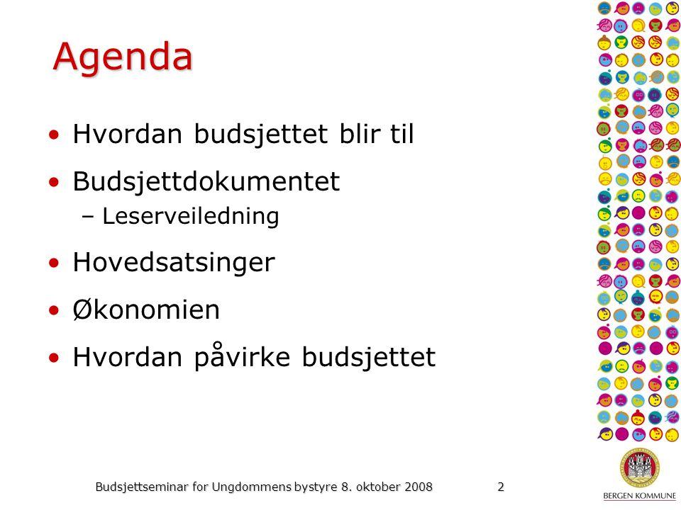 2 Agenda Hvordan budsjettet blir til Budsjettdokumentet –Leserveiledning Hovedsatsinger Økonomien Hvordan påvirke budsjettet