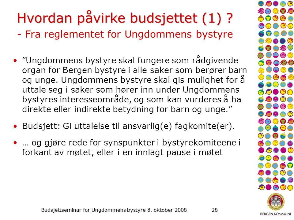 Budsjettseminar for Ungdommens bystyre 8. oktober 200828 Hvordan påvirke budsjettet (1) .
