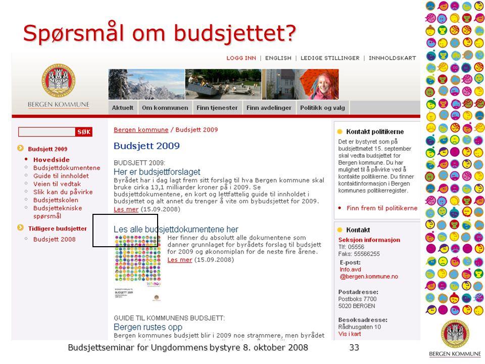 Budsjettseminar for Ungdommens bystyre 8. oktober 200833 Spørsmål om budsjettet