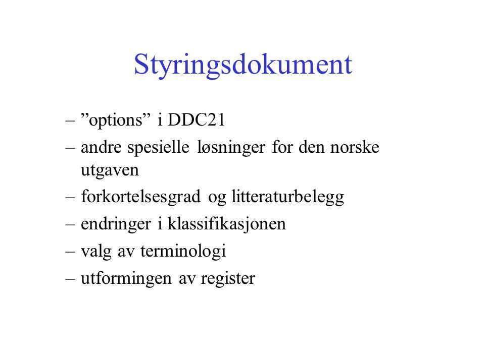 Styringsdokument – options i DDC21 –andre spesielle løsninger for den norske utgaven –forkortelsesgrad og litteraturbelegg –endringer i klassifikasjonen –valg av terminologi –utformingen av register