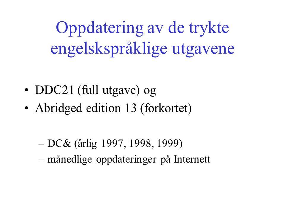 Oppdatering av de trykte engelskspråklige utgavene DDC21 (full utgave) og Abridged edition 13 (forkortet) –DC& (årlig 1997, 1998, 1999) –månedlige oppdateringer på Internett