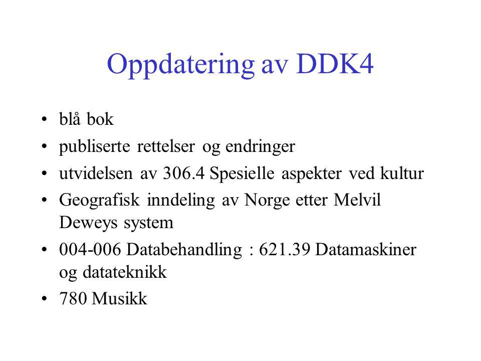 Oppdatering av DDK4 blå bok publiserte rettelser og endringer utvidelsen av 306.4 Spesielle aspekter ved kultur Geografisk inndeling av Norge etter Melvil Deweys system 004-006 Databehandling : 621.39 Datamaskiner og datateknikk 780 Musikk