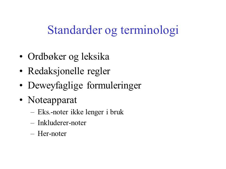 Standarder og terminologi Ordbøker og leksika Redaksjonelle regler Deweyfaglige formuleringer Noteapparat –Eks.-noter ikke lenger i bruk –Inkluderer-noter –Her-noter