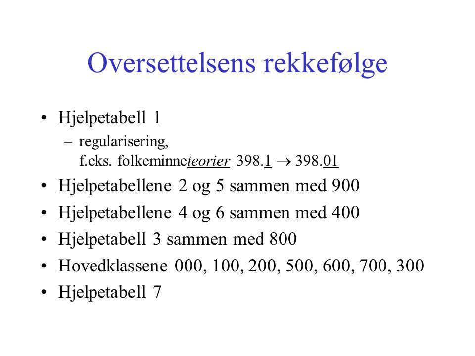 Oversettelsens rekkefølge Hjelpetabell 1 –regularisering, f.eks.