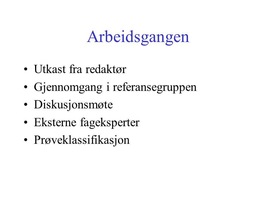 Arbeidsgangen Utkast fra redaktør Gjennomgang i referansegruppen Diskusjonsmøte Eksterne fageksperter Prøveklassifikasjon