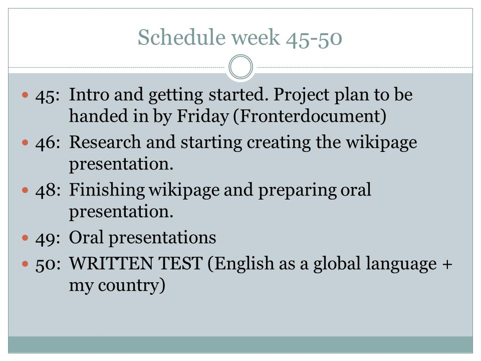 Schedule week 45-50 45: Intro and getting started.