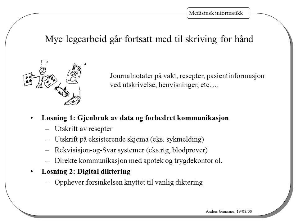 Medisinsk informatikk Anders Grimsmo, 19/08/00 Løsning 1: Gjenbruk av data og forbedret kommunikasjon –Utskrift av resepter –Utskrift på eksisterende