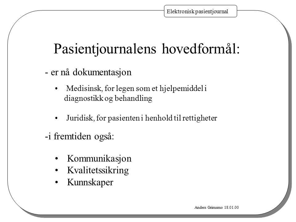 Anders Grimsmo 18.01.00 Elektronisk pasientjournal Pasientjournalens hovedformål: Medisinsk, for legen som et hjelpemiddel i diagnostikk og behandling