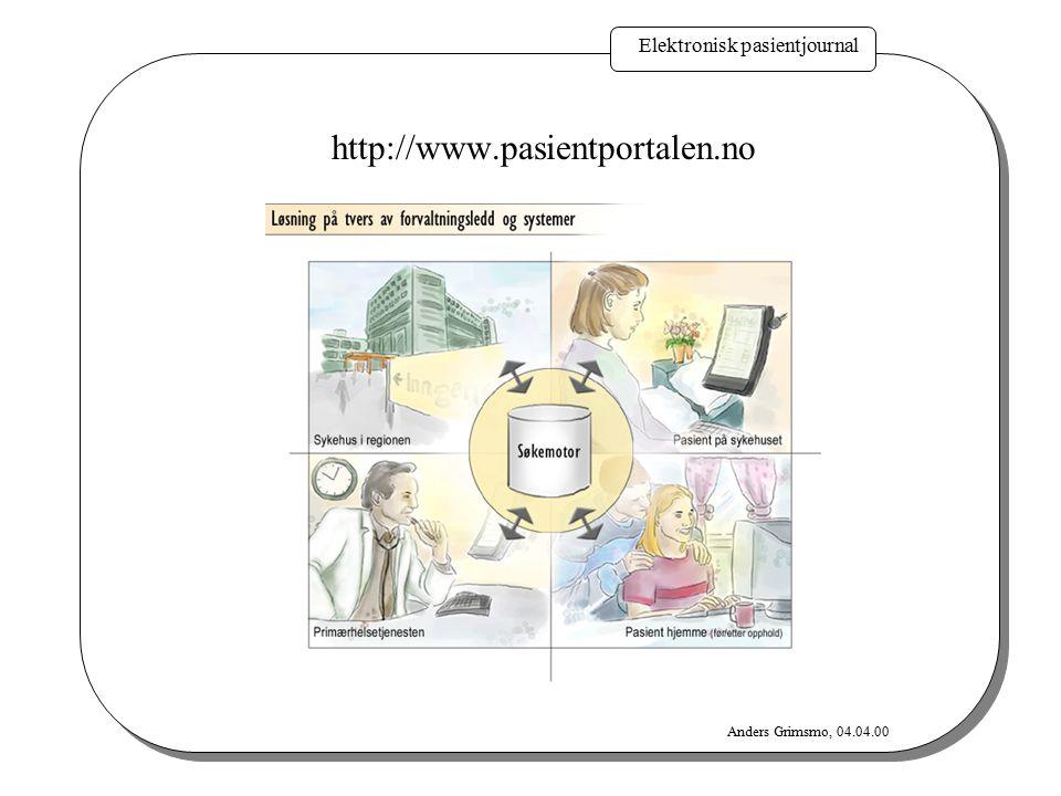 http://www.pasientportalen.no Elektronisk pasientjournal Anders Grimsmo, 04.04.00