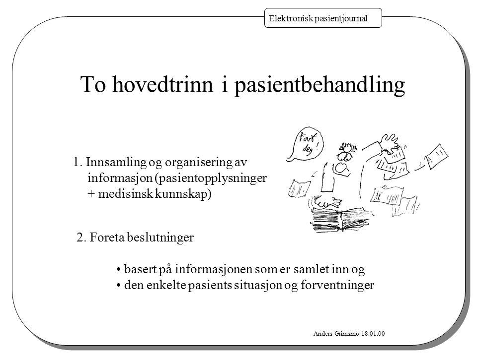Anders Grimsmo 18.01.00 Elektronisk pasientjournal To hovedtrinn i pasientbehandling 2. Foreta beslutninger basert på informasjonen som er samlet inn