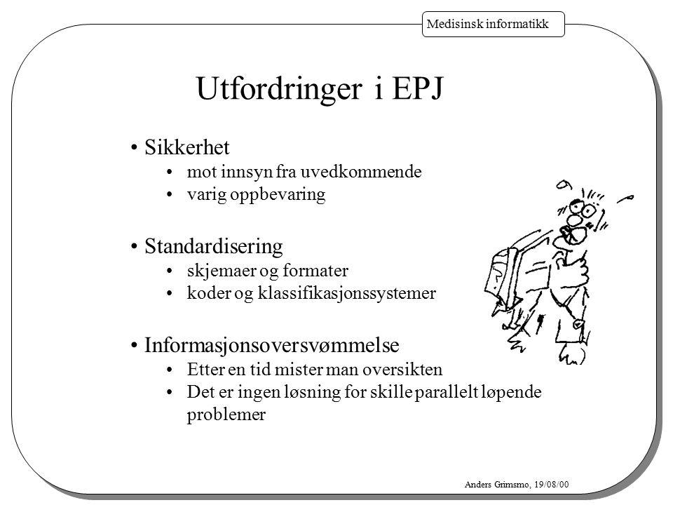 Medisinsk informatikk Anders Grimsmo, 19/08/00 Utfordringer i EPJ Sikkerhet mot innsyn fra uvedkommende varig oppbevaring Standardisering skjemaer og