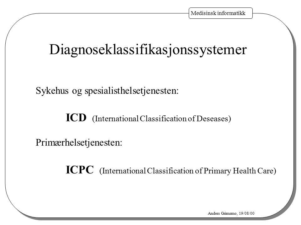Medisinsk informatikk Anders Grimsmo, 19/08/00 Diagnoseklassifikasjonssystemer Sykehus og spesialisthelsetjenesten: ICD (International Classification