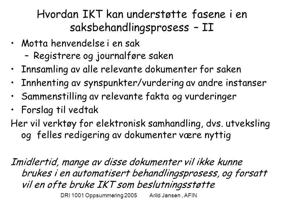 DRI 1001 Oppsummering 2005 Arild Jansen, AFIN Hvordan IKT kan understøtte fasene i en saksbehandlingsprosess – II Motta henvendelse i en sak –Registrere og journalføre saken Innsamling av alle relevante dokumenter for saken Innhenting av synspunkter/vurdering av andre instanser Sammenstilling av relevante fakta og vurderinger Forslag til vedtak Her vil verktøy for elektronisk samhandling, dvs.